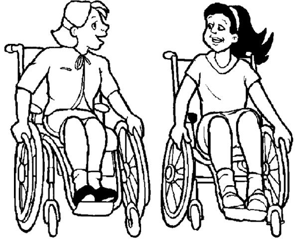 600x488 Two Girl Disabilities Coloring Page Disabilities