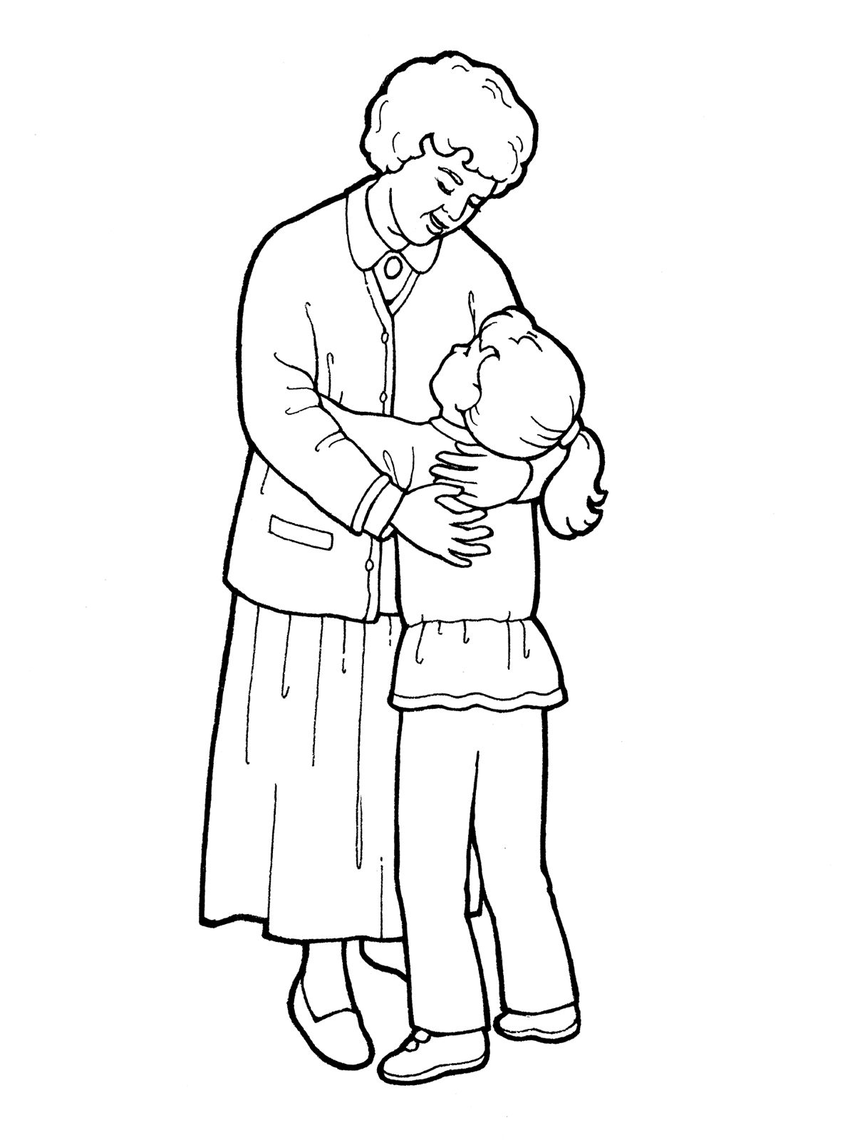 1200x1600 Two Girls Hugging Coloring Pages Inside Hug A Child Page