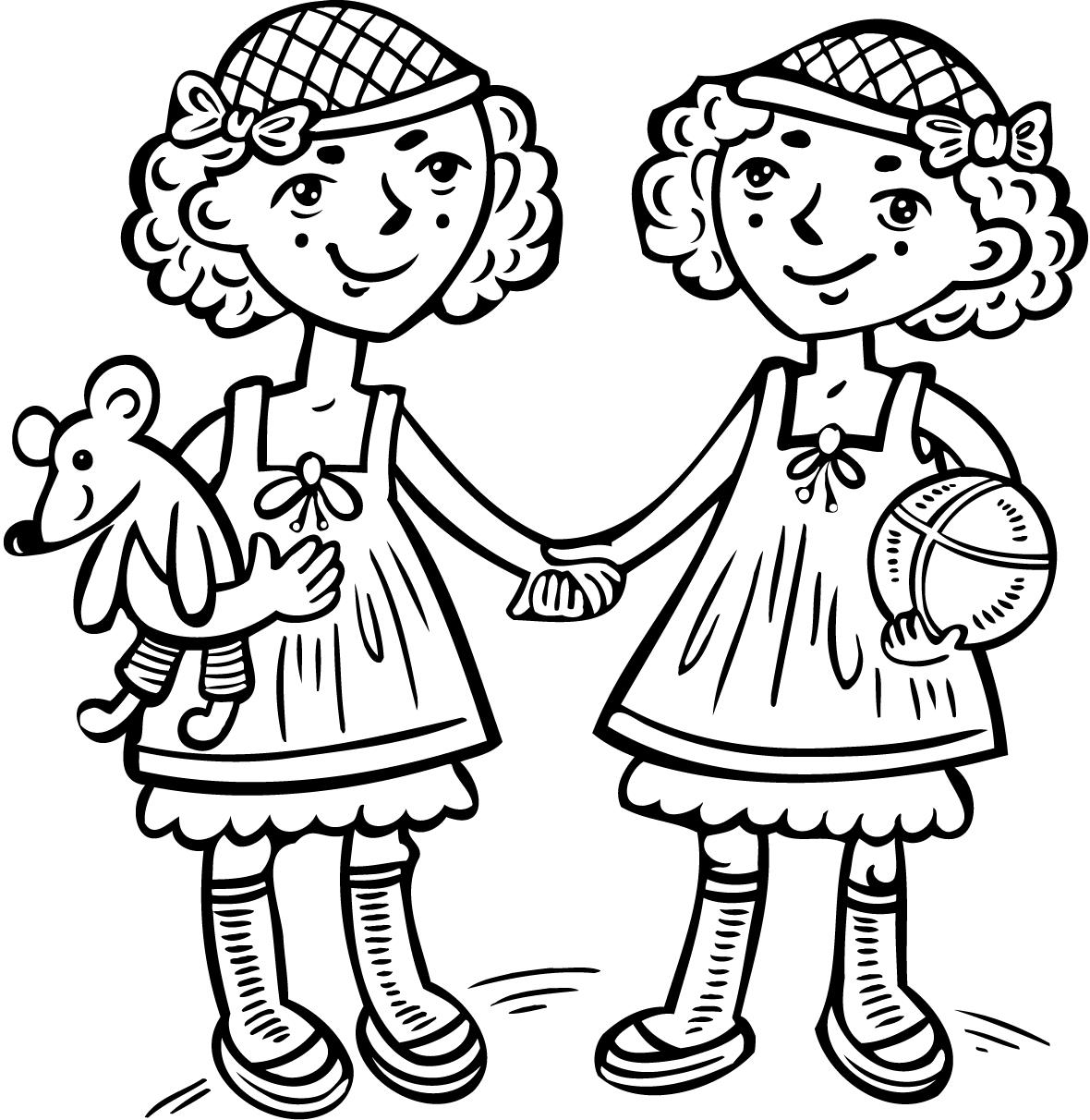 1180x1212 Cute Love Coloring Page Of Two Girls