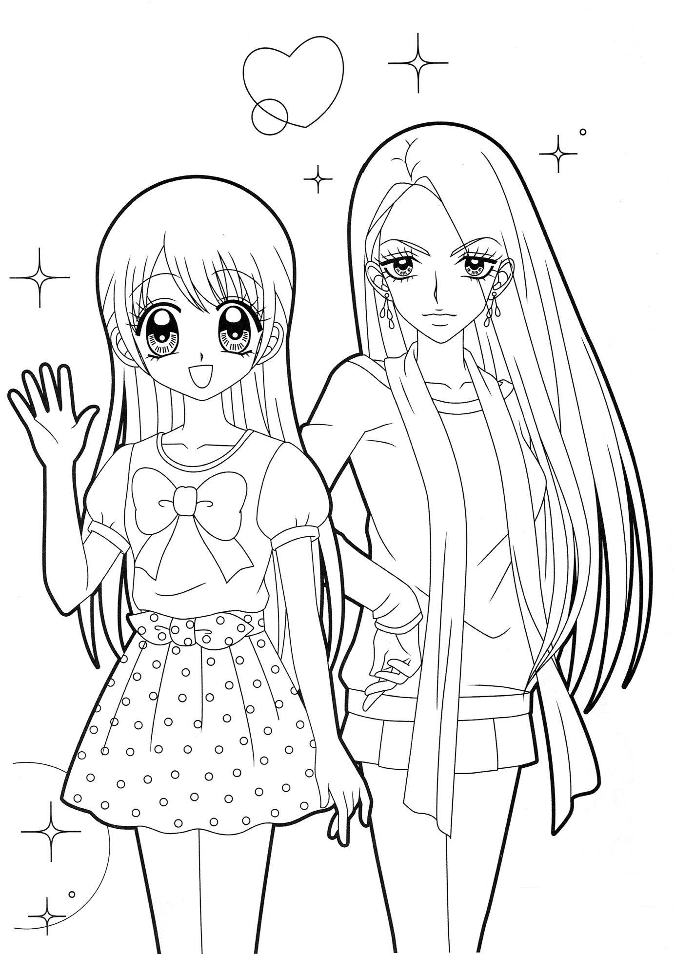 1384x1957 Two Girls Anime Anime