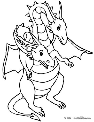 364x470 Dragon With Heads Coloring Pages
