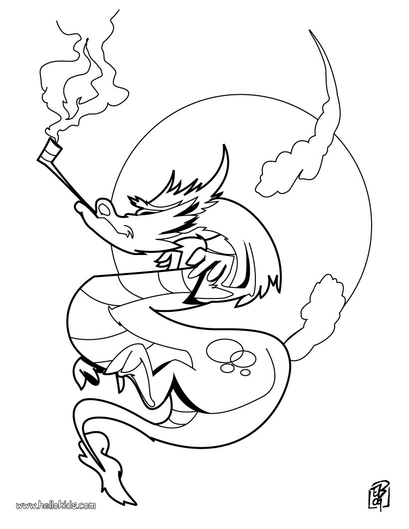 820x1060 Smoking Dragon Coloring Pages