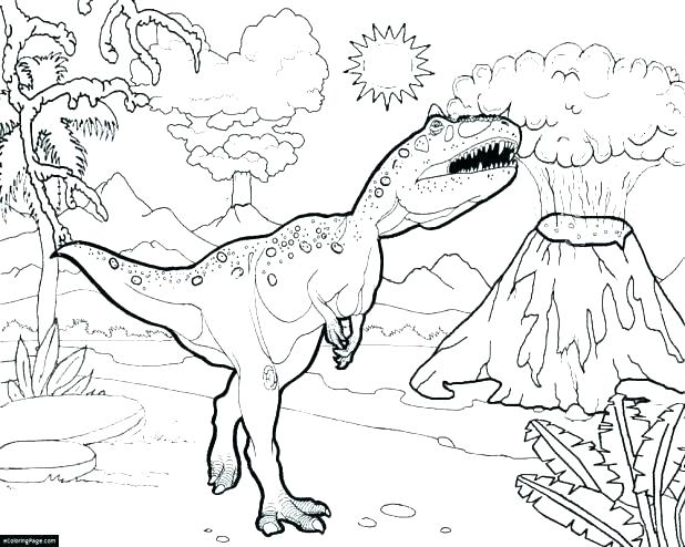 618x494 Tyrannosaurus Coloring Page T Hunting For Smaller Coloring