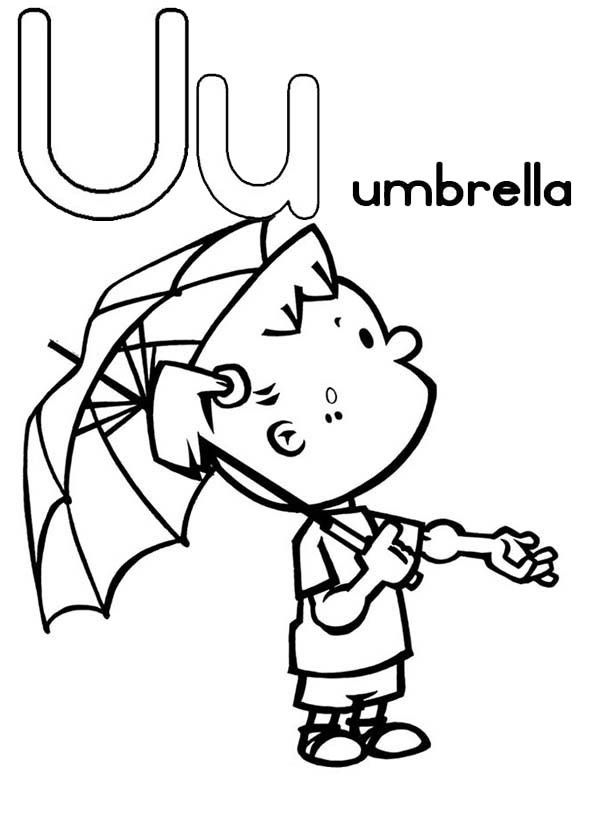 600x826 Umbrella For Learning Letter U Coloring Page Bulk Color