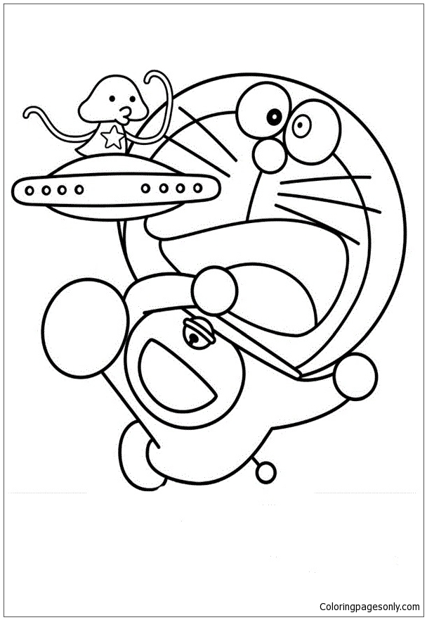 608x881 Doraemon With Ufo Coloring Page