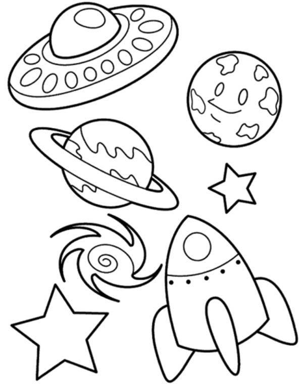 600x760 Ufo Planet Galaxy And Spaceship Coloring Page