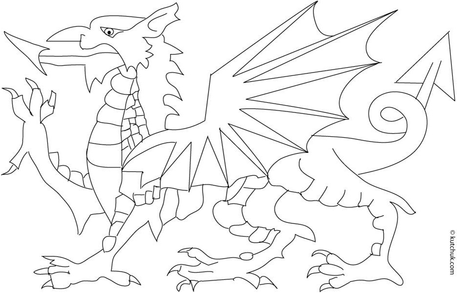 938x602 Wales Flag Coloring Page