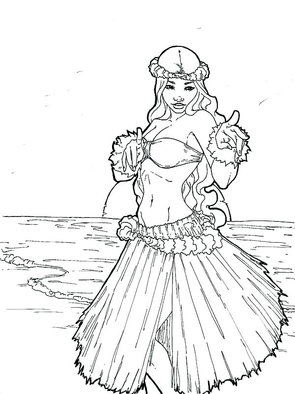 600x799 Hula Girl Coloring Page Adult Girl Lei And Ukulele Coloring Page