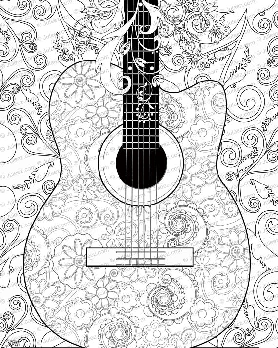 570x713 New Guitar Flowers Adult Coloring Page Printable Adult Guitar