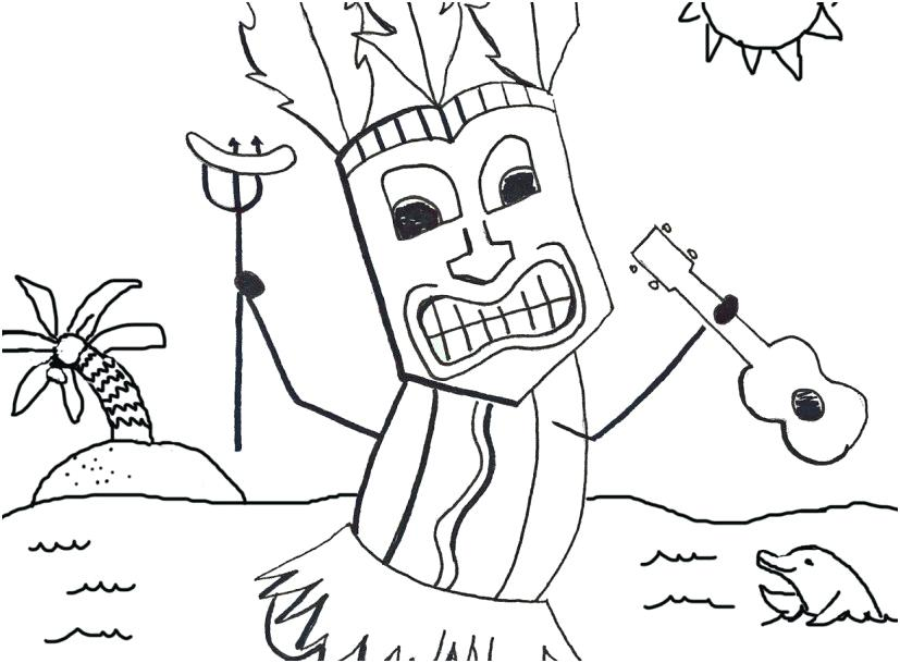 827x609 Tiki Coloring Pages Coloring Pages Endearing Mesmerizing Luau