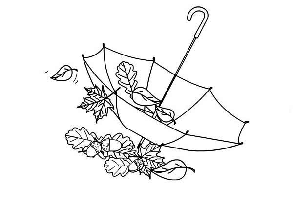 600x417 Autumn Leaf In Umbrella Coloring Page
