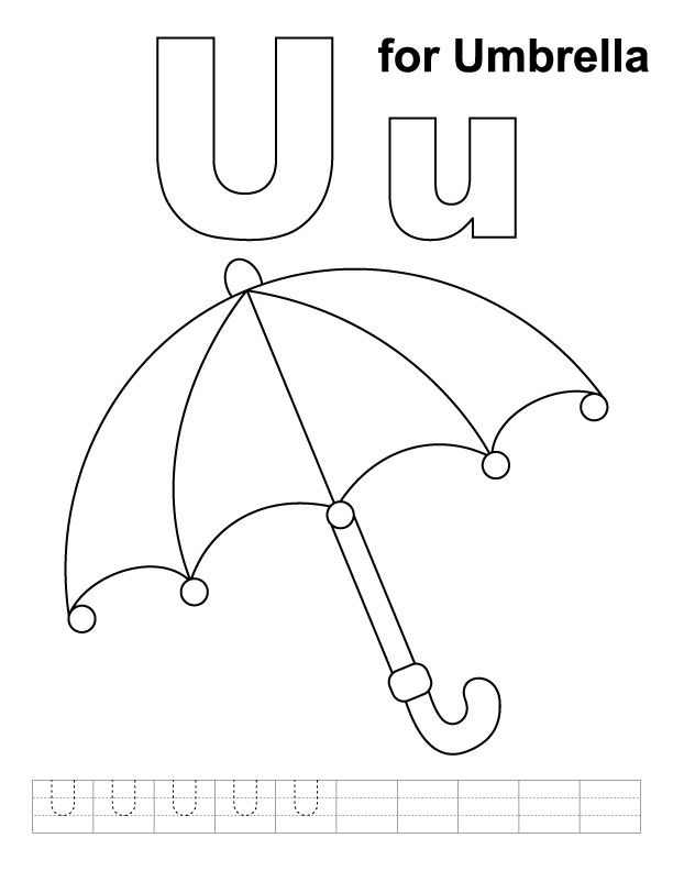 612x792 U For Umbrella Coloring Page With Handwriting Practice Daycare