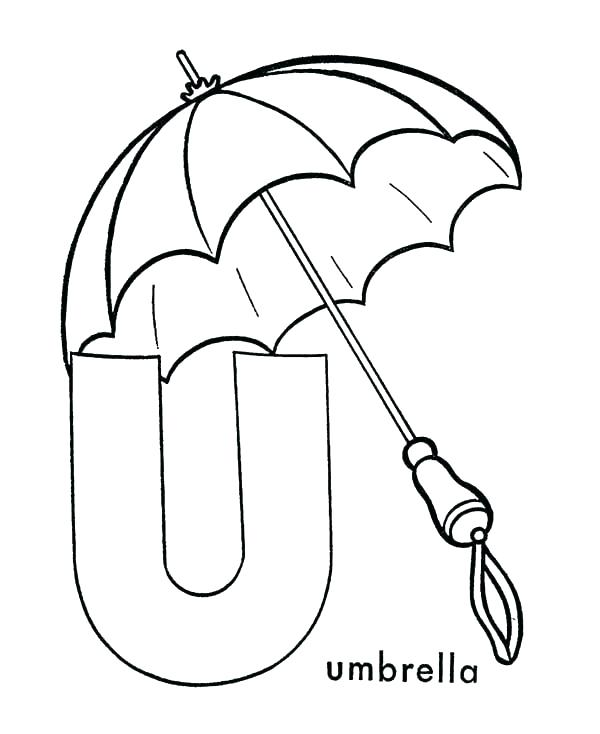 600x734 Umbrella Coloring Pages Capital Letter U Is For Umbrella Coloring