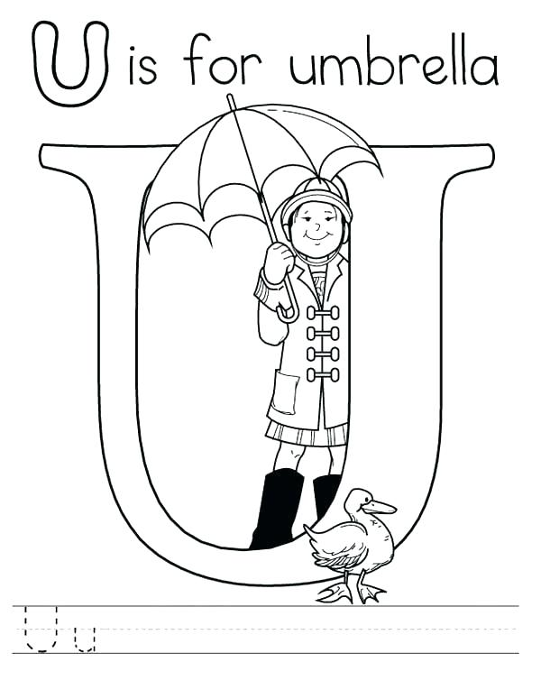 600x775 Umbrella Coloring Pages U Coloring Pages Letter U Is For Umbrella