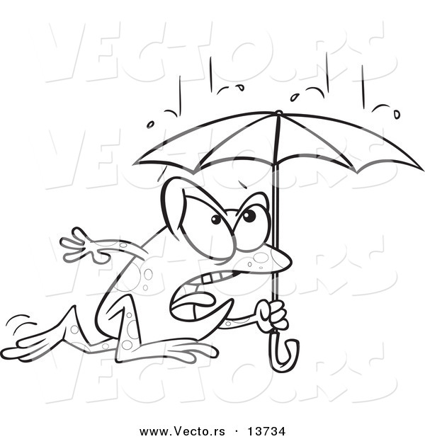 600x620 Vector Of A Cartoon Frog Dashing Through The Rain With An Umbrella