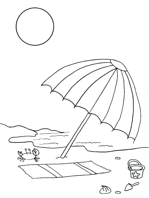 600x800 Beach Umbrella Coloring Pages Printable Beach Umbrella Colouring