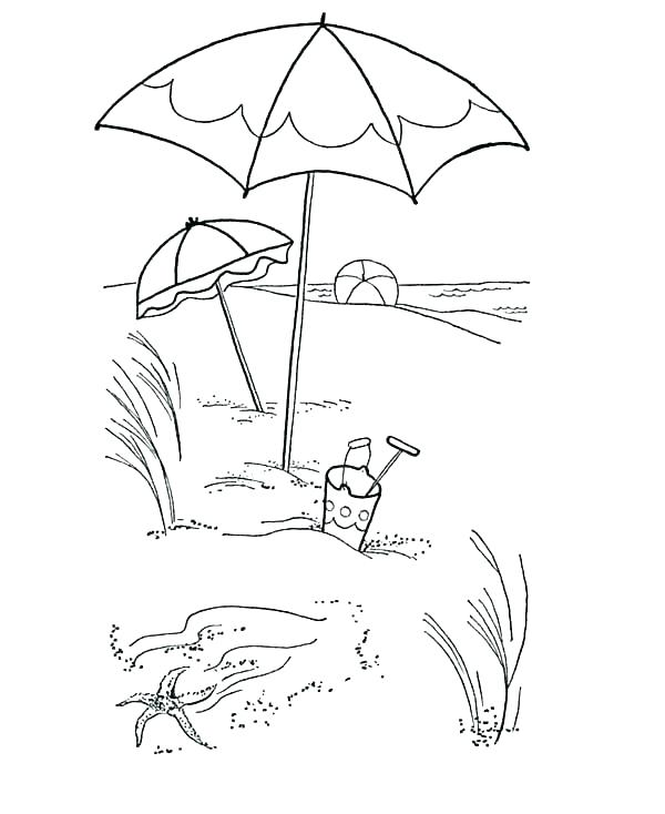 600x734 Beach Umbrella Colouring Page Printable Coloring Umbrella Coloring