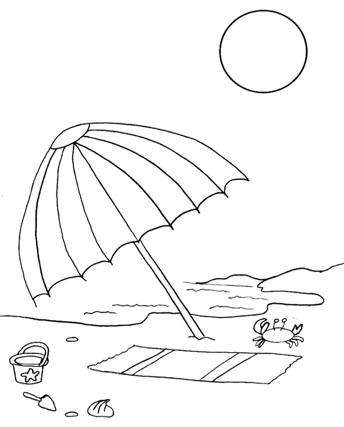 680x843 Beach Umbrella Coloring Page Beach Umbrella Coloring Page Free