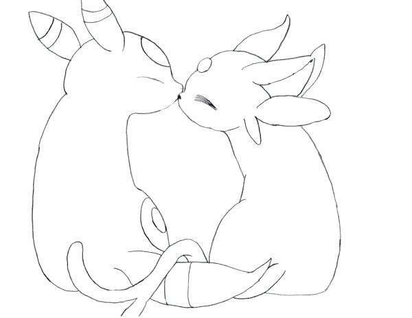 Umbreon And Espeon Coloring Pages