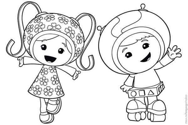 600x400 Milli And Geo Say Hi In Team Umizoomi Coloring Page Color Luna