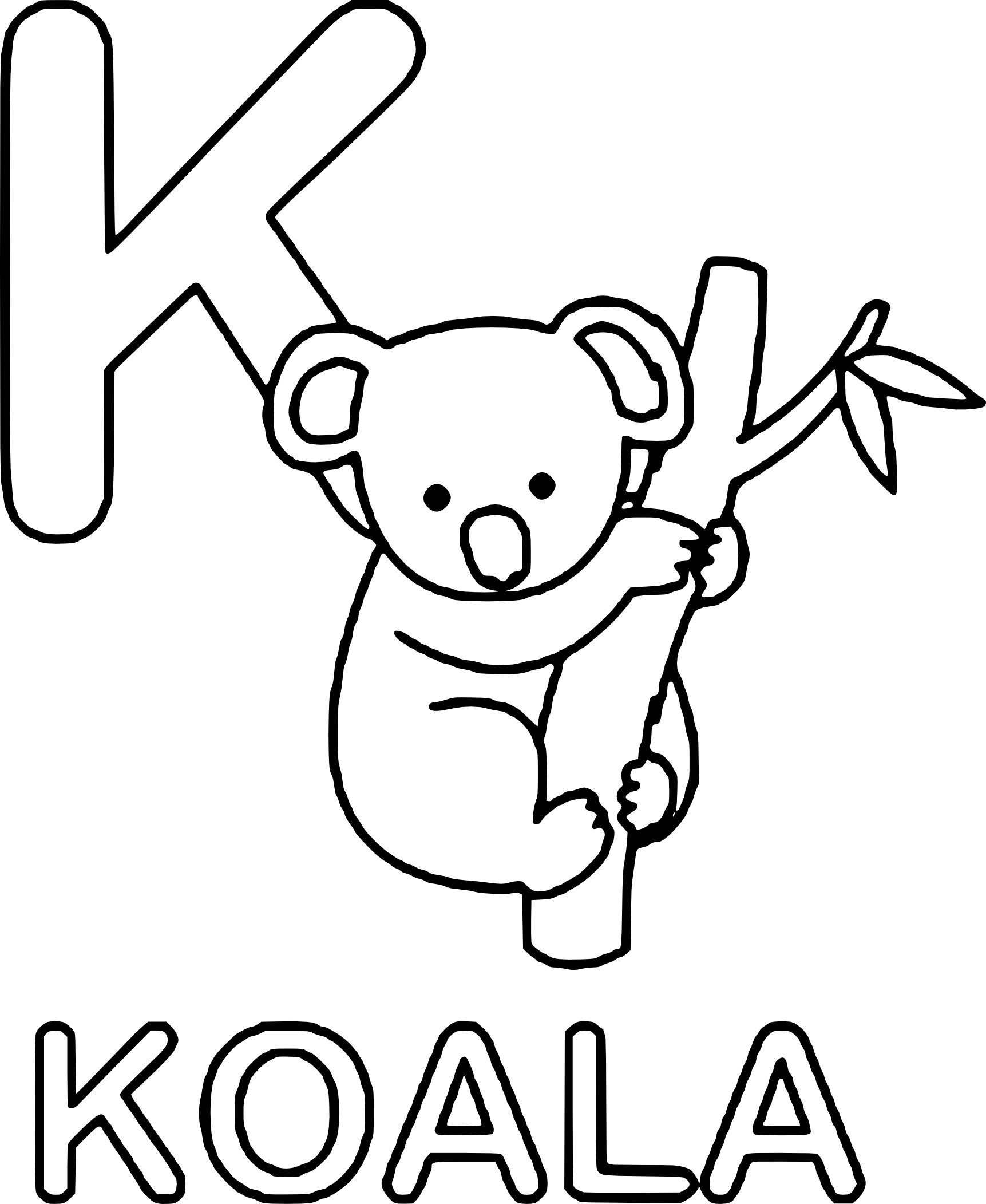 1723x2103 Surging Coloring Pages Of Koalas
