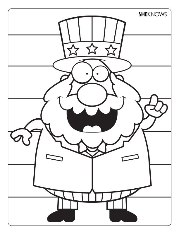 612x792 A Fun Printable Coloring Page Of Kooky Uncle Sam Everything