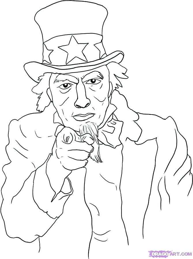 670x900 Uncle Sam Coloring Page Uncle Sam Hat Coloring Page