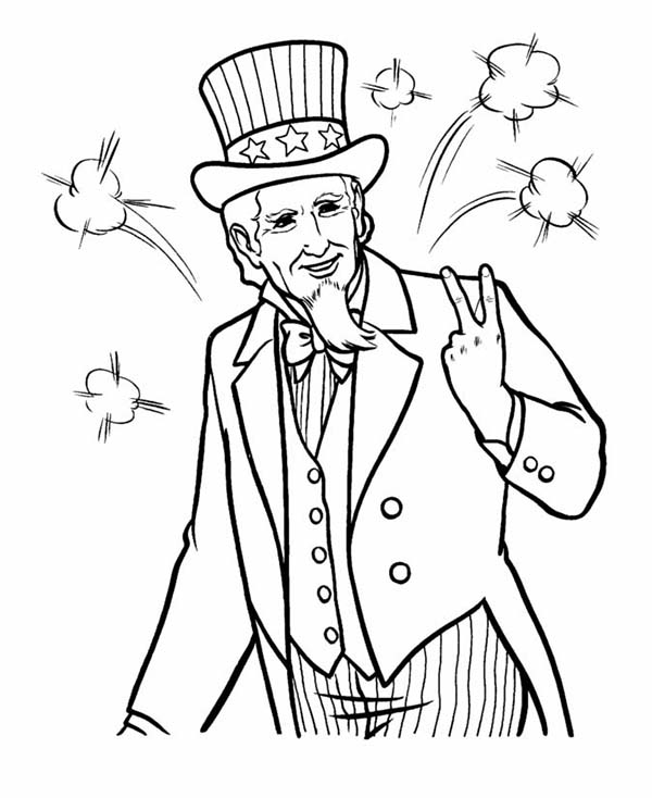 600x734 Picture Of Uncle Sam On Independence Day Celebration Coloring Page
