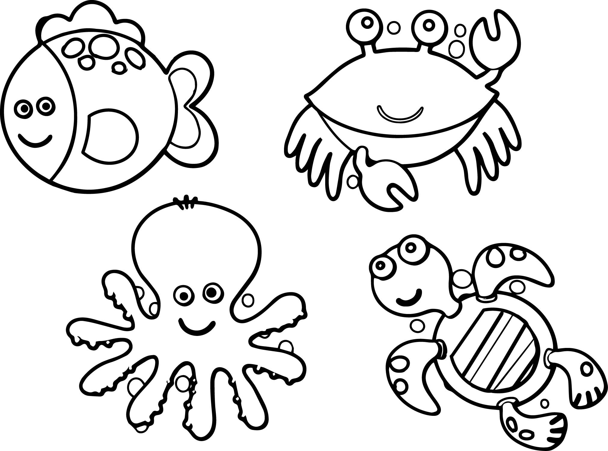 2023x1501 Sea Animals Coloring Pages Free Draw To Color
