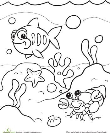 350x424 Under The Sea Coloring Page Worksheets, Ocean Crafts And Craft