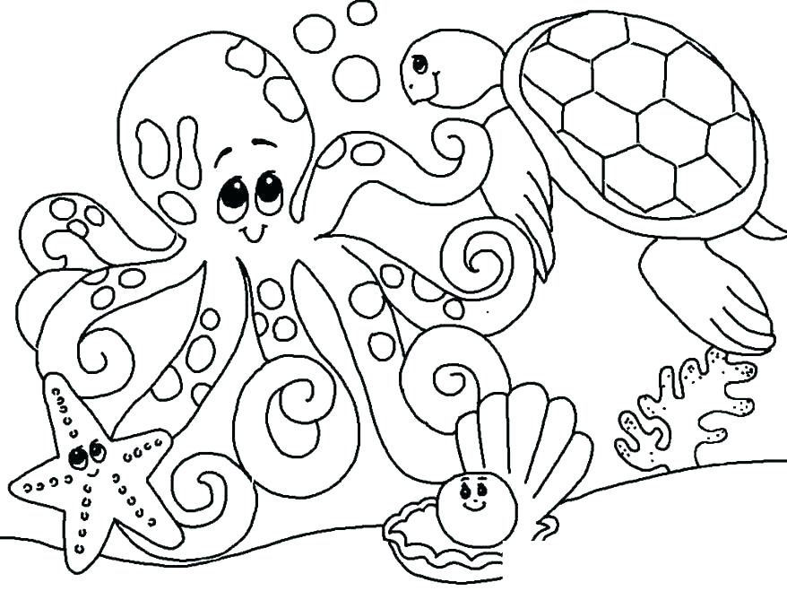 878x659 Astonishing Sea Creatures Coloring Pages