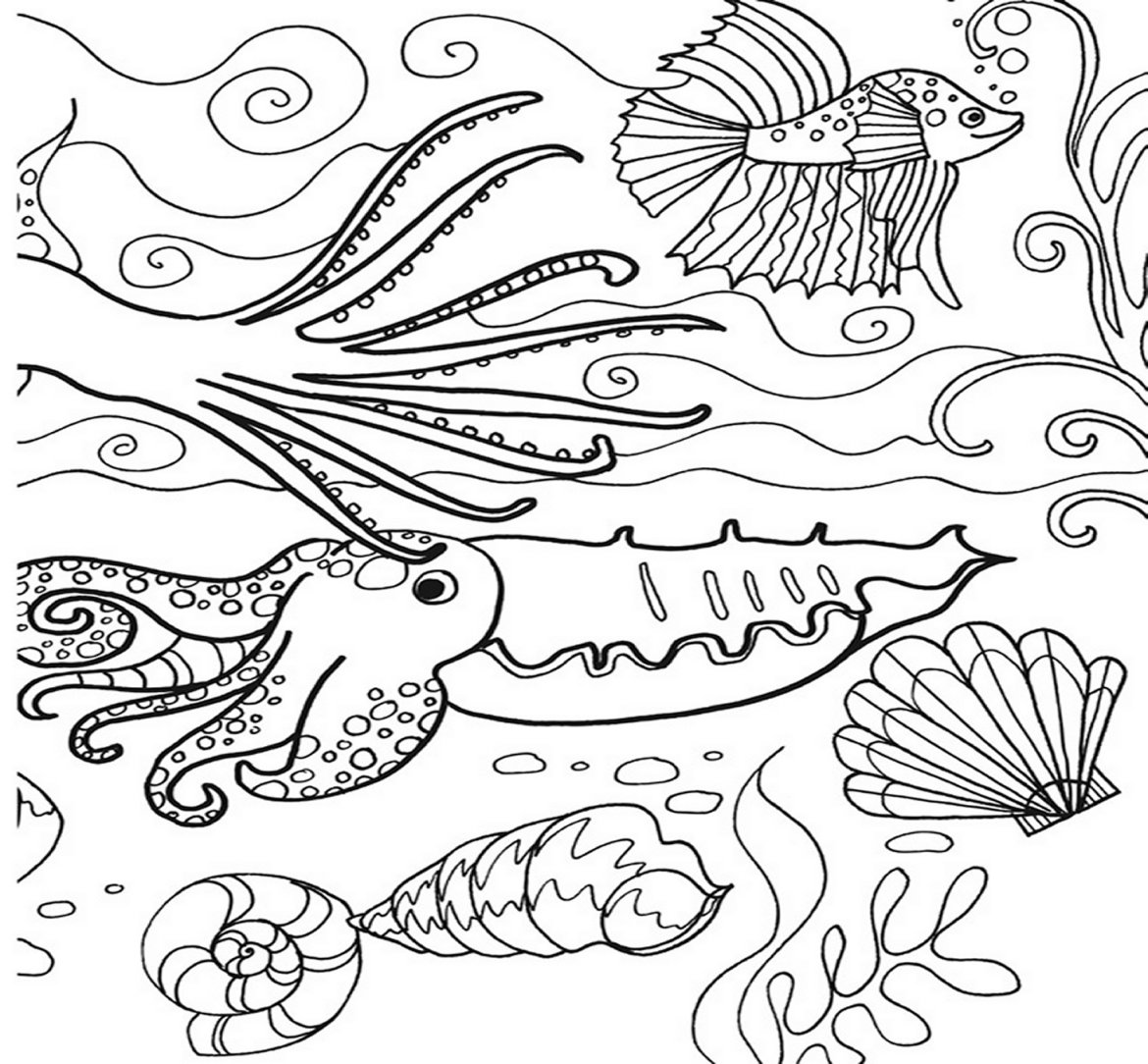 1170x1084 Under The Sea Coloring Pages Montenegroplaze Me Ribsvigyapan Sea