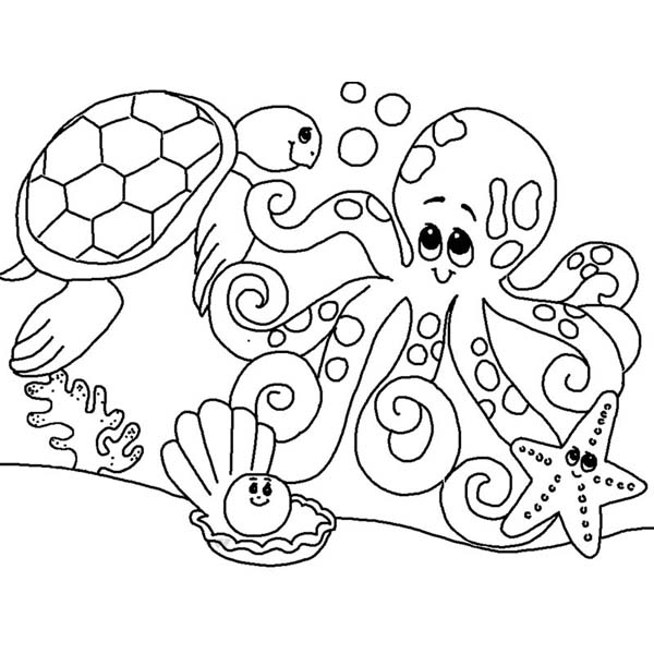 600x600 Cute Sea Animals Gathering Coloring Page