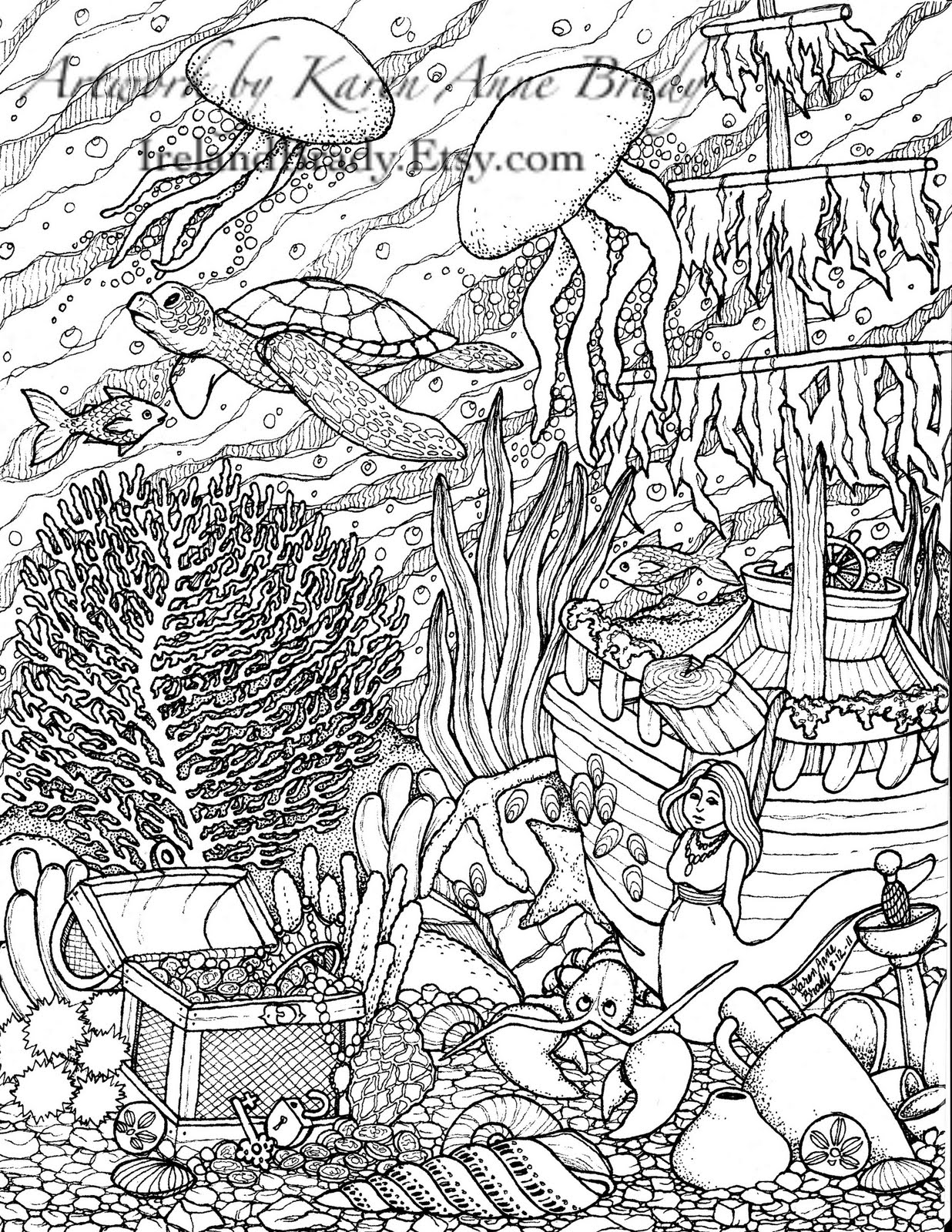 1236x1600 Ocean Coloring Pages For Adults