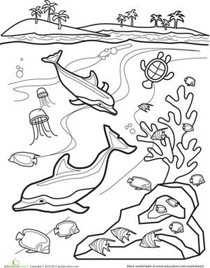 301x383 Underwater Coloring Pages Underwater Coloring Page Animals First