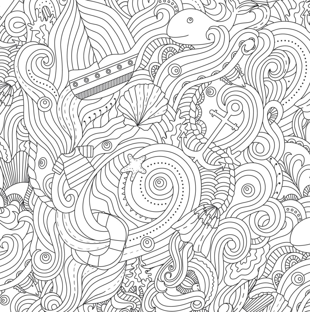 1020x1024 In Ocean Coloring Pages For Adults