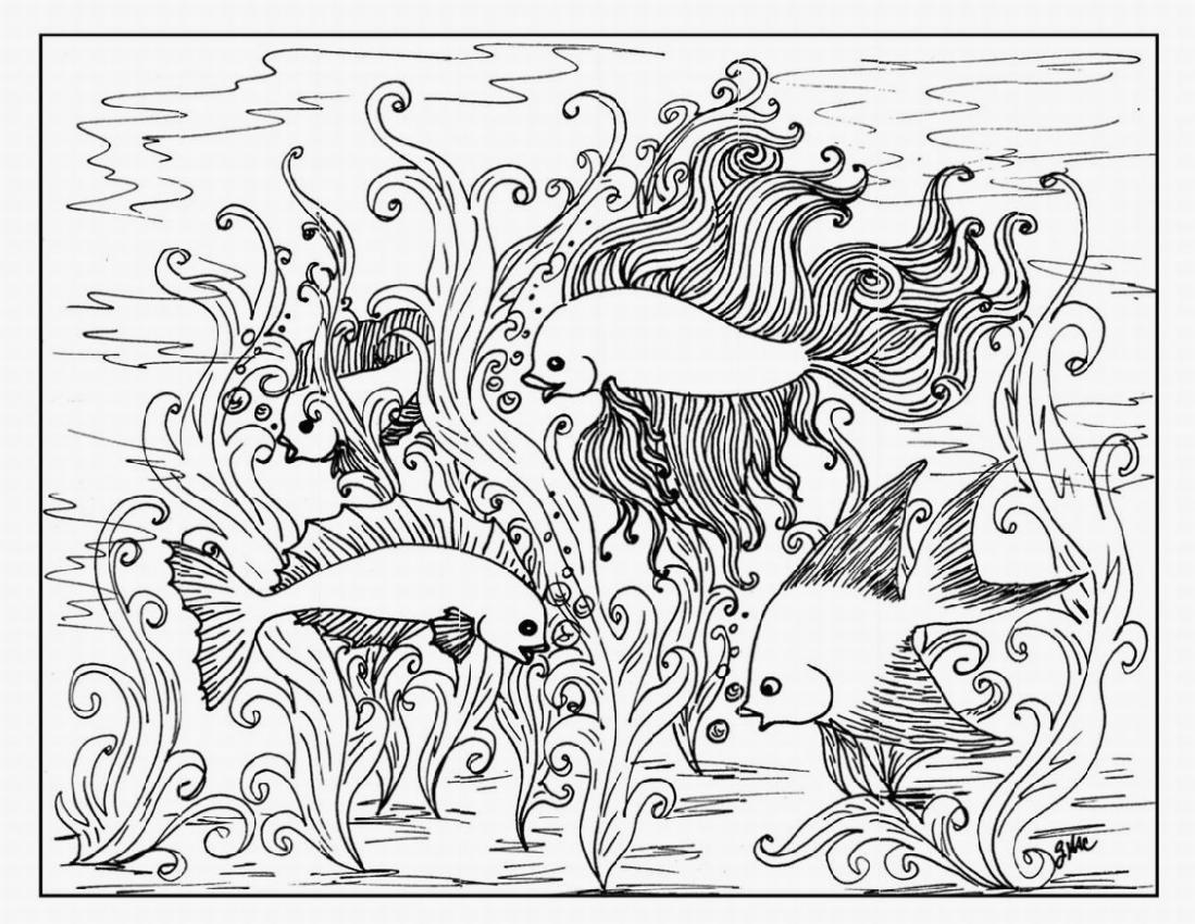 1099x850 Realistic Underwater Coloring Pages