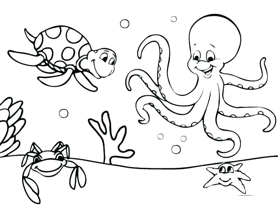 945x709 Sea Creatures Coloring Underwater Coloring Pages Underwater