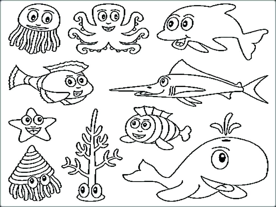 970x728 Ocean Coloring Page Ocean Animals Coloring Pages Underwater
