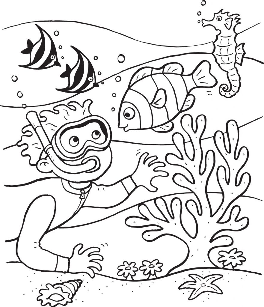 881x1024 Underwater Coloring Pages Deep Sea Animals For Toddlers