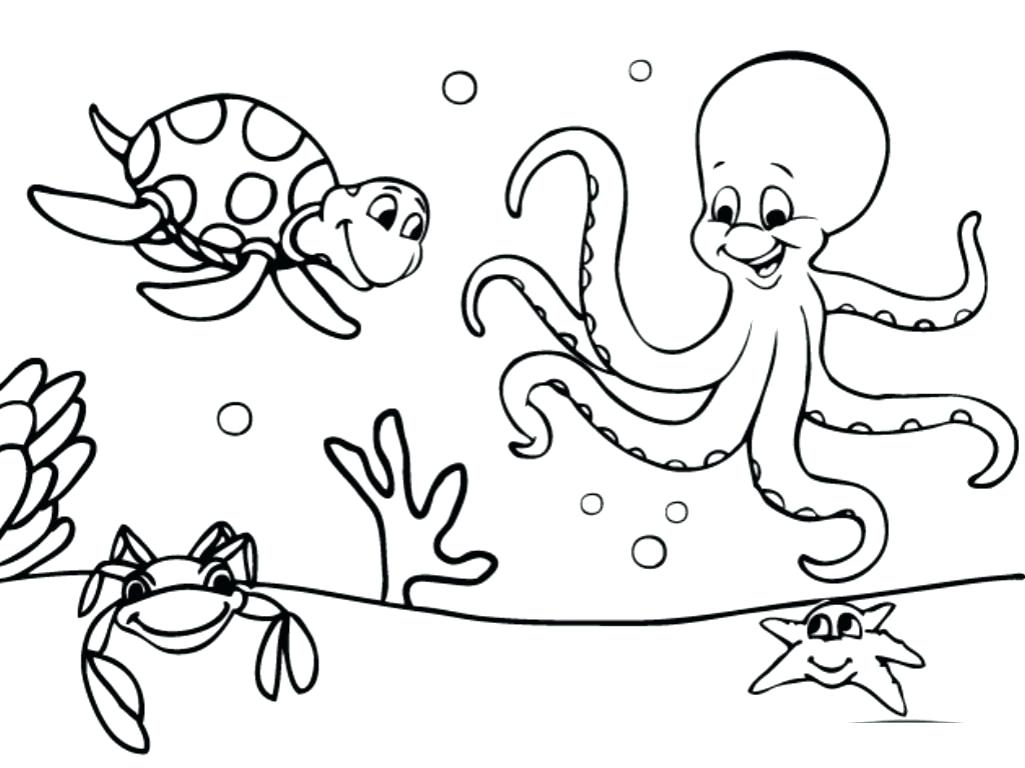 1025x768 Underwater Coloring Pages Stunning Plants For Adults Baby Sea