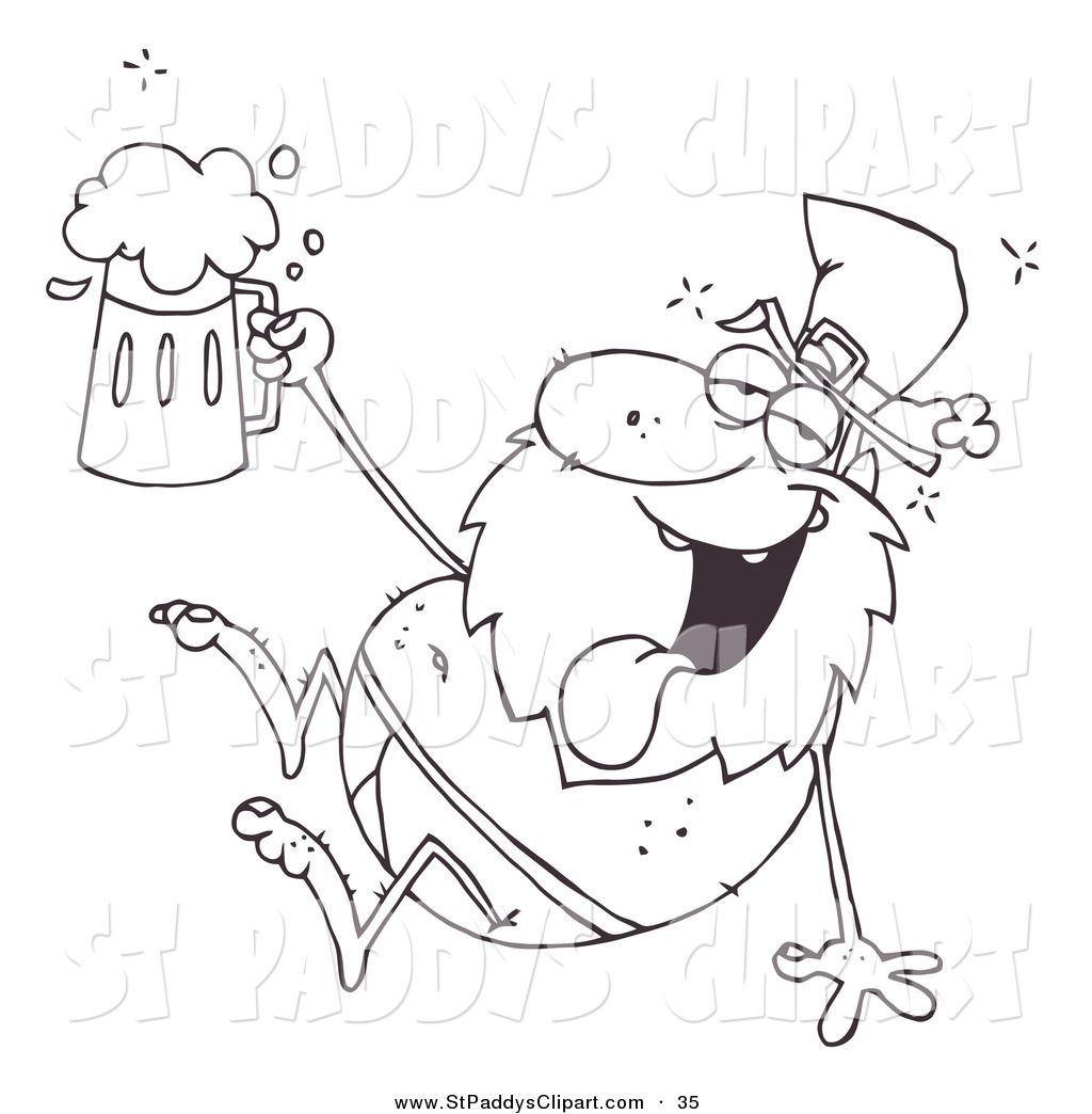 1024x1044 Vector Clip Art Of A Coloring Page Of A Drunk Leprechaun In His