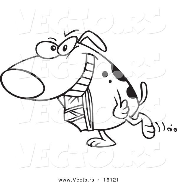 600x620 Vector Of A Cartoon Dog Carrying Underwear