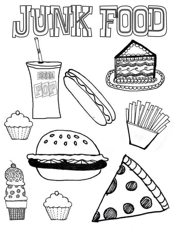 600x777 Junk Food Coloring Page