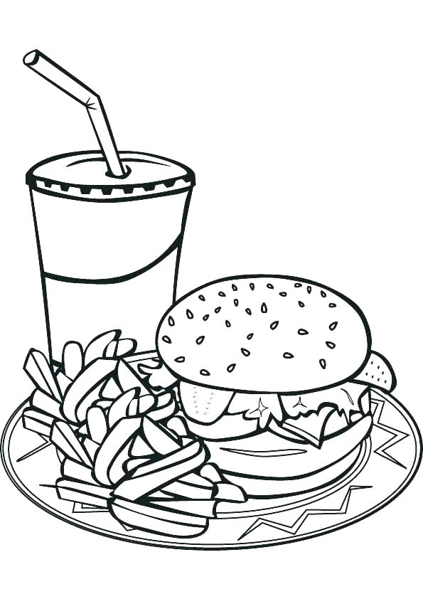 595x842 Junk Food Coloring Pages Also Junk Food Coloring Pages Unhealthy