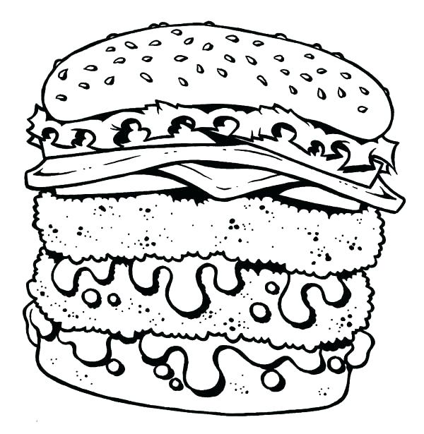 600x615 Food Coloring Page Junk Food Coloring Pages Double Cheeseburger