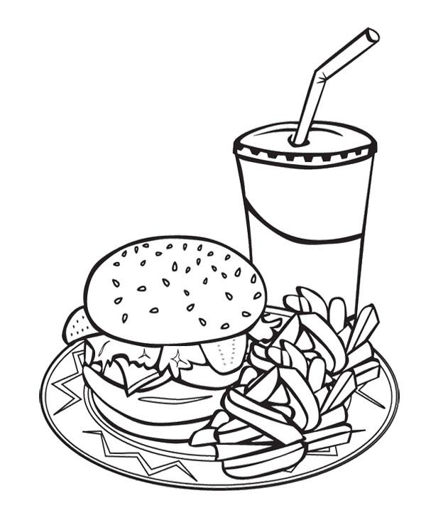 600x739 Printable Junk Food Burger And Drink Coloring Page For Kids