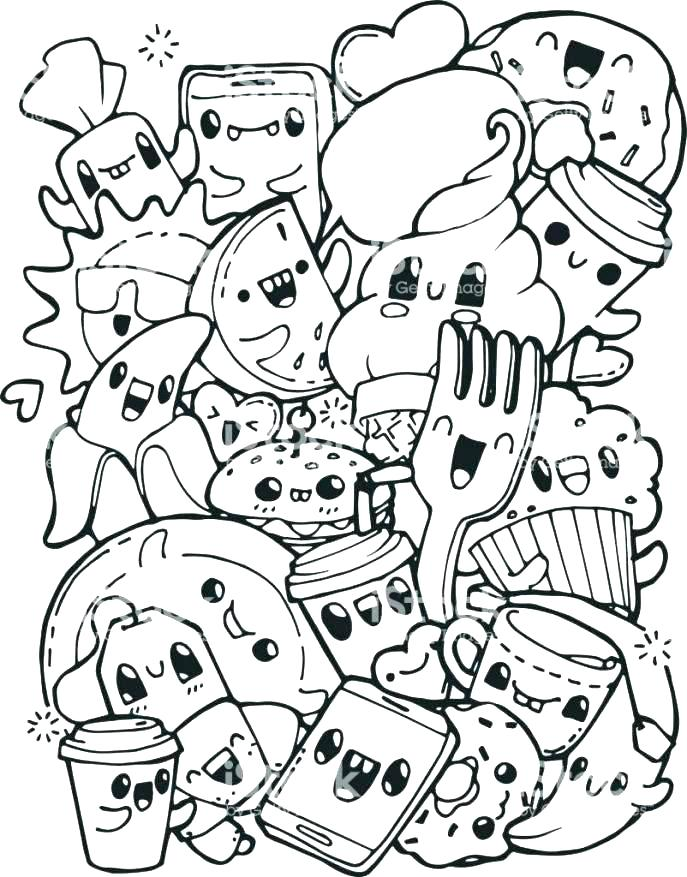 687x877 Unhealthy Food Coloring Pages Set Of Unhealthy Food Junk Food