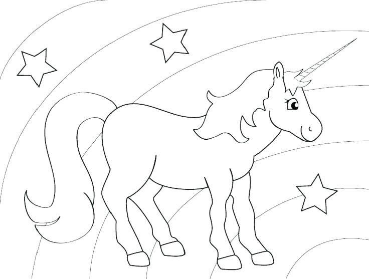 736x557 Unicorn And Rainbow Coloring Pages