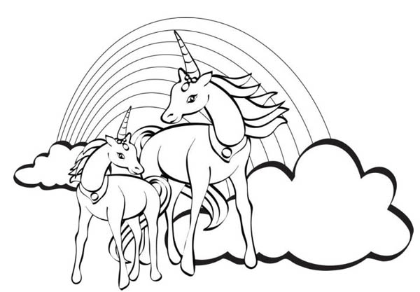 600x417 Two Unicorn With A Rainbow